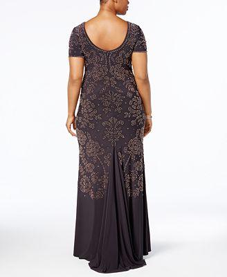 Betsy Adam Plus Size Beaded Scoop Back Gown Dresses Women Macy S