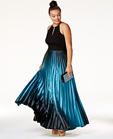 Plus Size Ombré Pleated Satin Gown