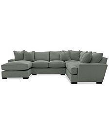 Ainsley 3-Piece Fabric Chaise Sectional Sofa with 6 Toss Pillows, Created For Macy's