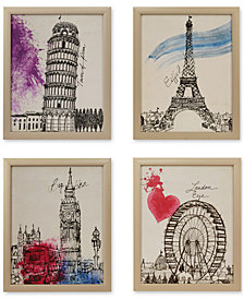 Intelligent Design European Summer Days 4-Pc. Framed Gel-Coated Canvas Print Set