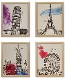 Intelligent Design European Summer Days 4-Pc. Framed Gel-Coated Canvas Print Set