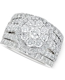 Diamond Flower Cluster Multi-Row Ring (4 ct. t.w.) in 14k White Gold