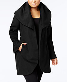 T Tahari Plus Size Marla Belted Wrap Coat
