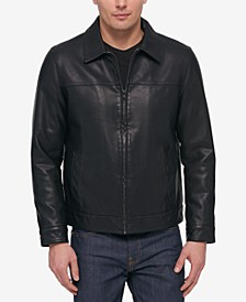 Men's Faux Leather Laydown Collar Jacket
