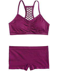 Maidenform Seamless Cross-Back Crop Bra & Minishort Underwear, Little Girls & Big Girls