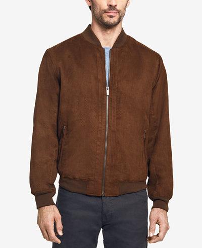 Weatherproof Men's Perforated Microsuede Baseball Jacket - Coats ...