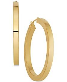 Polished Flat-Edge Tube Hoop Earrings in 14k Gold
