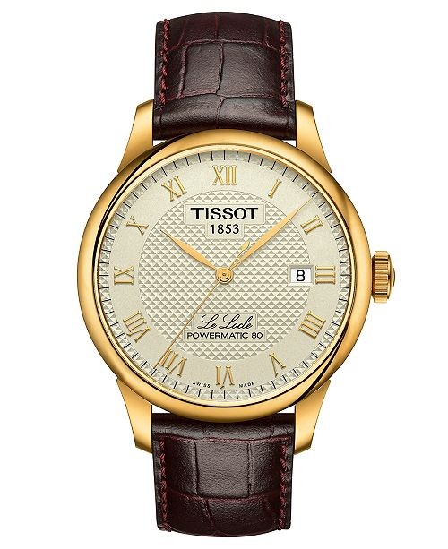 a15c1bb8c Tissot Men's Swiss Automatic Le Locle Brown Leather Strap Watch 40mm ...
