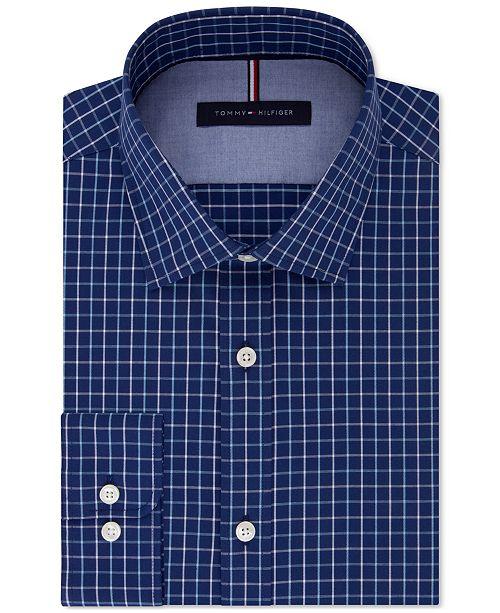 ffba9751 ... Tommy Hilfiger Men's Slim-Fit Soft Touch Non-Iron Check Dress Shirt ...