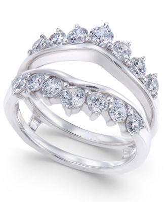 Diamond Tiara Solitaire Enhancer Ring Guard (1-3/8 ct. t.w.) in 14k White Gold