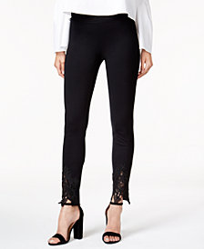 Bar III Lace-Trim Skinny Pants, Created for Macy's