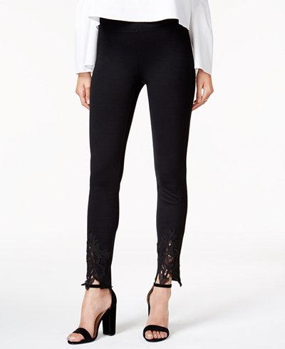 Bar III Lace-Trim Skinny Pants, Created for Macy's