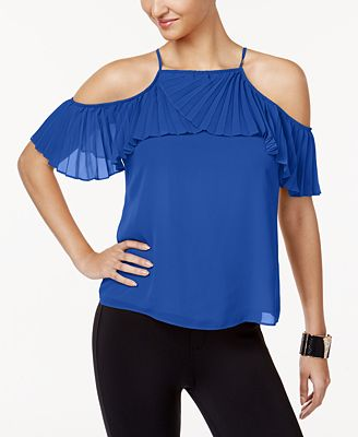 Thalia Sodi Pleated Cold-Shoulder Top, Created for Macy's
