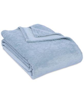 VelvetLoft® Frosted Floral Damask Scroll Plush Twin Blanket