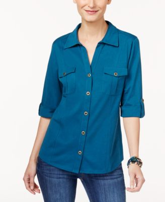 Image of Style & Co Utility Shirt, Created for Macy's