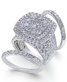 Diamond Multi-Level Halo Bridal Set (6 ct. t.w.) in 14k White Gold