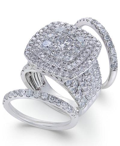 Diamond Multi-Level Halo Bridal Set (6 ct. t.w.) in 14k White Gold