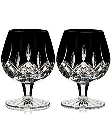 Waterford Lismore Black Brandy Glass Pair