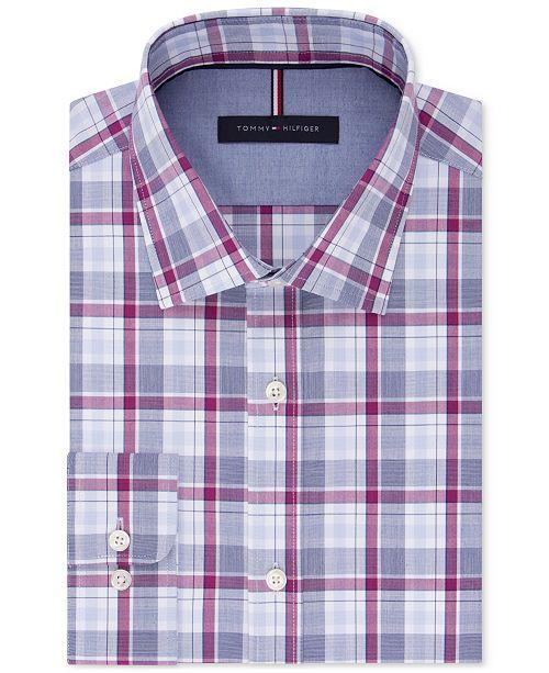 905d5c63 ... Tommy Hilfiger Men's Slim-Fit Soft Touch Non-Iron Performance Check Dress  Shirt ...