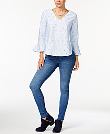 7 Sisters Juniors' Ruffle-Sleeve Top & Celebrity Pink Skinny Jeans