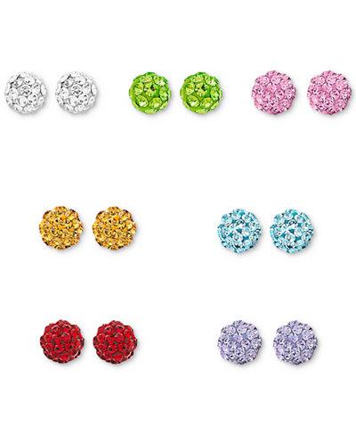 Crystal 7-Pc. Set Stud Earrings in Sterling Silver
