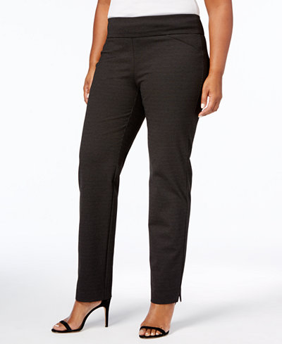 Charter Club Plus Size Cambridge Dot-Print Pull-On Ponte Pants, Created for Macy's