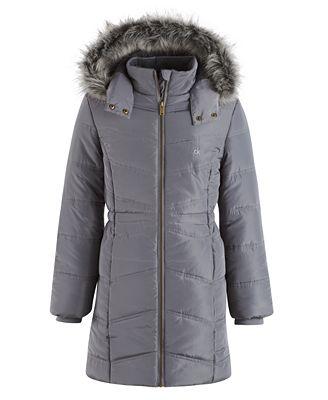 Calvin Klein Everest Puffer Jacket with Faux-Fur Trim, Toddler Girls