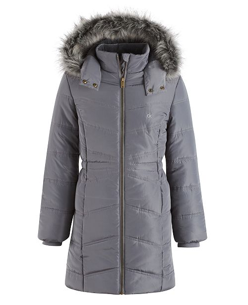 e8789c8dd Calvin Klein Everest Puffer Jacket with Faux-Fur Trim