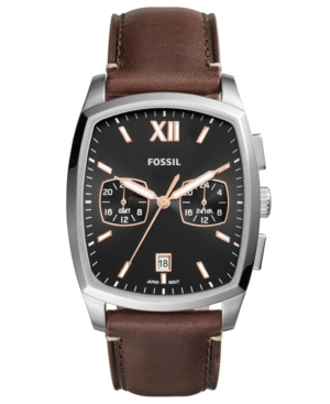 Fossil  MEN'S KNOX BROWN LEATHER STRAP WATCH 38X32MM