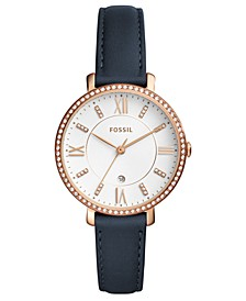 Women's Jacqueline Blue Leather Strap Watch 36mm