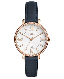Fossil Women's Jacqueline Blue Leather Strap Watch 36mm