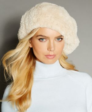 The Fur Vault Knitted Beaver Fur Beret - PEARL