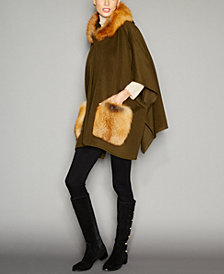 The Fur Vault Fox-Fur-Trim Wool-Alpaca-Blend Hooded Poncho