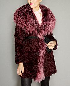 The Fur Vault Belted Lamb Fur Coat