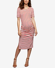 Maternity Striped Ruched Dress