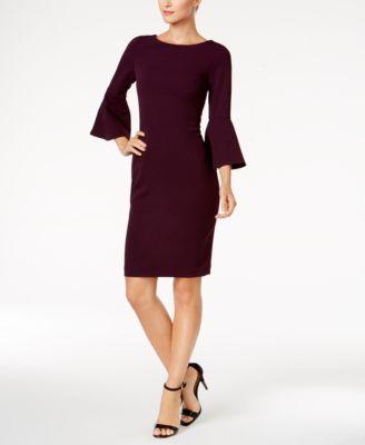 Calvin Klein Pee Bell Sleeve Sheath Dress Dresses Pees Macy S