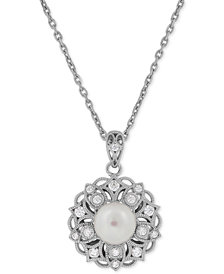 Honora Style Cultured Freshwater Pearl (8mm) & Swarovski Zirconia Pendant Necklace in Sterling Silver