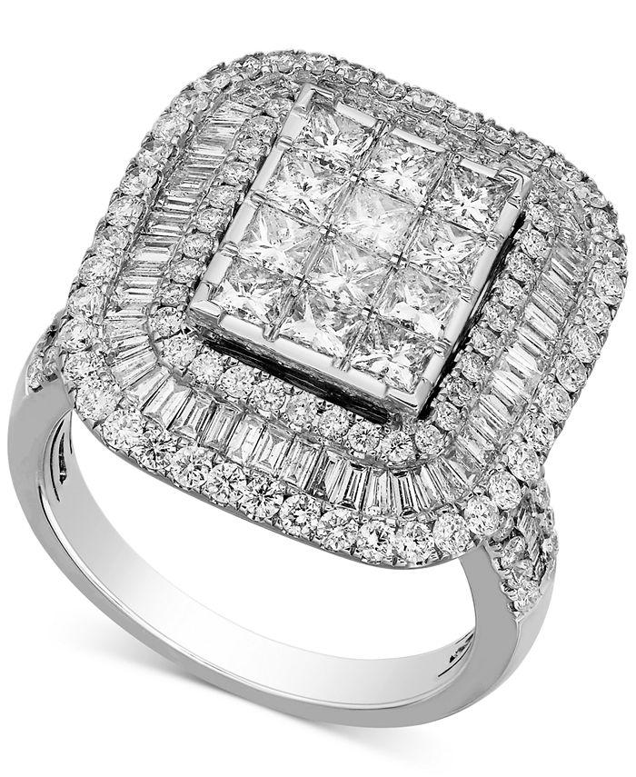Macy's - Diamond Square Halo Ring (3 ct. t.w.) in 14k White Gold