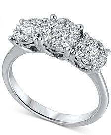 Diamond Triple Cluster Ring (3/4 ct. t.w.) in 18k White Gold