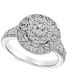 Diamond Filigree Halo Engagement Ring (1 ct. t.w.) in 14k White Gold