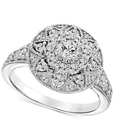 Diamond Filigree Halo Engagement Ring (1 ct. t.w.) in 14k White Gold