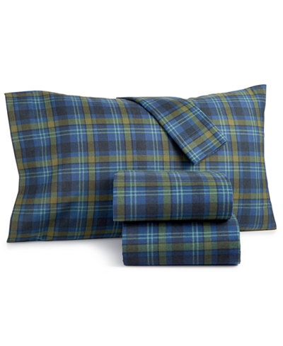 Martha Stewart Collection Markham Cotton 3 Pc Plaid Flannel Twin Xl Sheet Set Created For Macy S Sheets Pillowcases Bed Bath Macy S