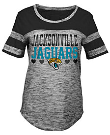 5th & Ocean Jacksonville Jaguars Space Dye Foil Heart T-Shirt, Girls (4-16)