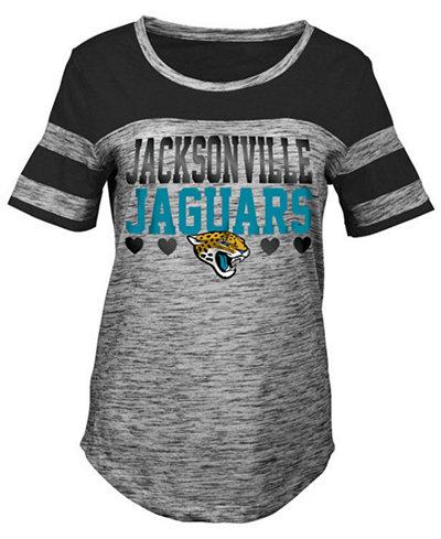 5th & Ocean Jacksonville Jaguars Space Dye Foil Heart T-Shirt, Girls (4-16)