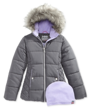 Hawke  Co Outfitter Abbey Hooded Puffer Jacket with FauxFur Trim Big Girls (716)