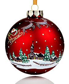 Holiday Lane 2018 Red Glass Winter Village Ball Ornament, Created for Macy's