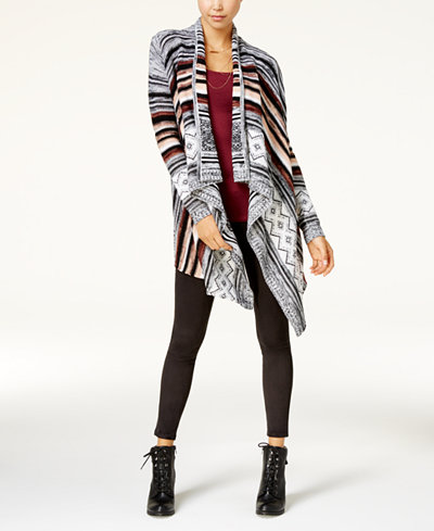 Almost Famous Juniors' Ruched Cascade Cardigan & Planet Gold Camisole