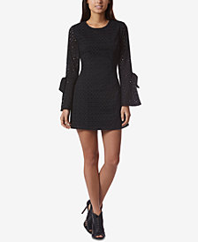 Avec Les Filles Cotton Eyelet Bell-Sleeve Mini Dress