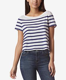 Avec Les Filles Cotton Striped Open-Back T-Shirt