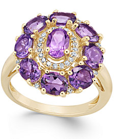 Amethyst (3-1/2 ct. t.w.) & Diamond (1/8 ct. t.w.) Ring in 14k Rose Gold